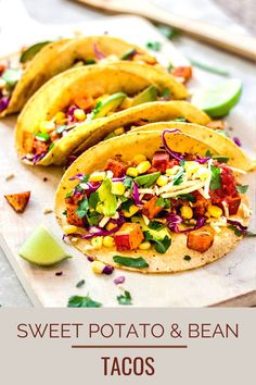These easy sweet potato tacos are so delicious and take 45 minutes to make! A healthy vegan taco recipe with roasted sweet potatoes, refried beans, avocado, red cabbage and salsa. The whole family will love this easy, fun dinner! #vegantacos #sweetpotatotacos #blackbeantacos #healthydinner #familyfriendly #familyrecipe Vegan Dinner Recipes, Vegan Breakfast Recipes, Delicious Vegan Recipes, Good Healthy Recipes, Vegan Dinners, Whole Food Recipes, Healthy Eats, Healthy Foods, Vegetarian Recipes