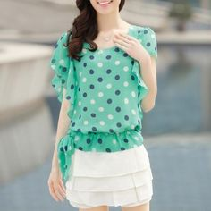 Looking for a cool, airy, light and fun top this summer? This Short Sleeve Polka Dot Chiffon Blouse fits the bill! - The Happy Hummingbird Shop - DYT Type 1 - type 1 tints - light spring - asymmetrical - tie on the side