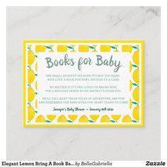 Elegant Lemon Bring A Book Baby Shower Enclosure Card