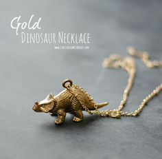 Super cute and easy to make gold dinosaur necklace DIY