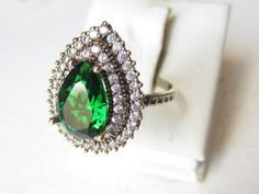 925 Sterling Silver Turkish Hurrem Sultan Emerald Ladies' Drop Ring Sz 7,75 #Ottoman