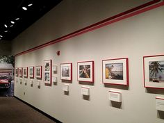 """Exhibition wall layout with supergraphics for the """"Searching for the Seventies"""" exhibition in the O'Brien Gallery."""