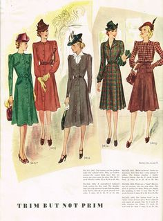 McCall Fashion Book, Winter 1939-1940 featuring McCall 3407, 3403, 3412, 3432 and 3409