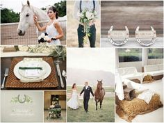 photos of table settings and creative shots with horses