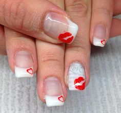 Valentines Nails, kisses Kisses, Valentines, Nails, Finger Nails, Valentine's Day Diy, Blowing Kisses, Ongles, Valentines Day, Kiss