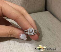 14k White Gold 1.15 Ct Round Cut Diamond Engagement Bridal Wedding Ring Sets #giftjewelry22