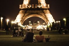 Late night picnic in front of the Eiffel Tower- Jon & I have to while in Paris!