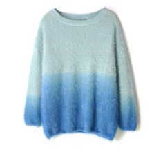 Chicwish Blue Color Ombre Fluffy Sweater (€36) ❤ liked on Polyvore featuring tops, sweaters, chicwish, blue, loose tops, wet look top, blue ombre sweater, blue top and ombre top