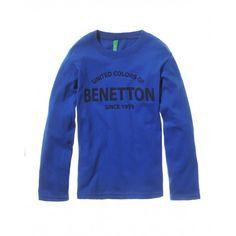 T-shirt maniche corte, in cotone, scollo rotondo finitura in costina, con stampa frontale verticale.3U1LC12FY BLUE LIGHT