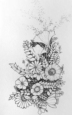Floral - flower drawing, black and white illustration