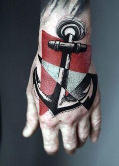 Man With Tattoos Abstract Anchor On Hands