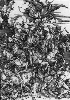 The Four Horsemen From Apocalypse Is A Woodcut Portrait With Dimensions Of X Cm It Illustrates Passage Book Revelation