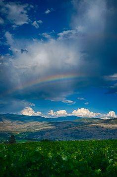 Beautiful rainbow seen in the Okanagan Valley, Okanagan, British Columbia, Canada Beautiful World, Beautiful Places, Cool Pictures, Beautiful Pictures, Vancouver City, O Canada, Sky And Clouds, Best Places To Travel, British Columbia