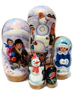 Children 5 Piece Russian Nesting Doll Hand Painted Winter Snowman Kids Toy Babushka. Let it snow this holiday season and spread the Christmas cheers with our new and beautifully designed set of snowman nesting dolls. Get one of our nesting doll sets today and enjoy its beautiful craftsmanship for years to come. Russian artists individually carved each doll from lime wood, painted them with extreme attention to detail, and finally covered each babushka doll with several layers of…