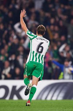 Sergio Canales of Real Betis celebrates after scoring during the UEFA. Seville Spain, Europa League, Football Players, Soccer, America, Celebrities, Image, Football, Football Shirts