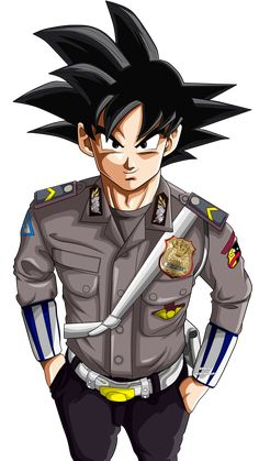 Son Goku Police man - Goku Polisi by erwinwibowoart Anime One, Anime Art Girl, Foto Do Goku, Samurai Wallpaper, Goku Wallpaper, Super Images, Wallpaper Naruto Shippuden, Z Arts, Dragon Ball Gt