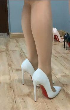 Very High Heels, Pink High Heels, White Heels, High Heels Stilettos, Stiletto Heels, Tights And Heels, Pantyhose Heels, Stockings Heels, Sexy Legs And Heels