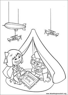 Up Coloring Pages Dug Cartoon Pinterest Embroidery