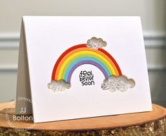 Card by PS DT JJ Bolton using PS Cute Clouds dies, Rainbow die, Chit Chat