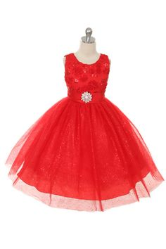 Rain Kids Big Girls Sparkly Tulle Special Occasion Dress 4-14 (Red)