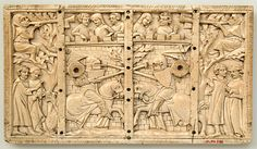 Plaque from a Casket with Jousting Scenes,ca 1320-40. Made in France,ivory