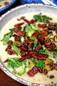 Celery Root Soup with Pancetta, Brussels Sprouts and Toasted Hazelnuts - keviniscooking.com