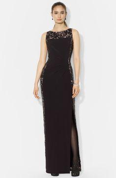 Lauren Ralph Lauren Lace Panel Jersey Column Gown