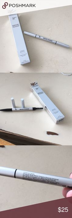 It Cosmetics Brow Power Pencil in Universal Taupe This eyebrow pencil is 100% authentic It Cosmetics! Comes in original packaging. Flattering Universal Taupe color and comes with thin pencil and spooley on one end. Has never been used! 🚫Please do not leave advertisements for your closet on my listings! No trades!🚫 IT Cosmetics Makeup Eyebrow Filler