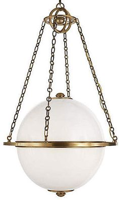 This pendant makes an immediate impression with a white-glass globe shade that's perfectly suspended by a brass structure with an antiqued finish. Room Lights, Ceiling Lights, Ceiling Fans, Sphere Light, Copper Beech, Luminaire Design, Globe Pendant, Visual Comfort, Glass Globe