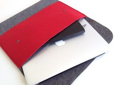 Large File Folder, Double Pocket Laptop Sleeves, Document Organizer, 13 inch mac book case in Red. $24.25, via Etsy.