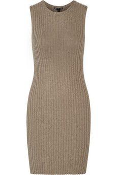 Ribbed cotton-blend dress