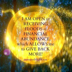 I am open to receiving floods of financial abundance wich allows me to give back… Famous Quotes For Success Affirmations Positives, Wealth Affirmations, Positive Thoughts, Positive Vibes, Positive Quotes, Gratitude Quotes, Positive Mind, Mantra, 3 Chakra