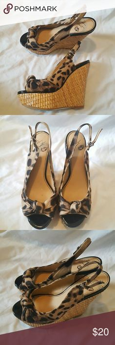 Colin Stuart leopard print wedges Gently worn Colin Stuart Shoes Wedges