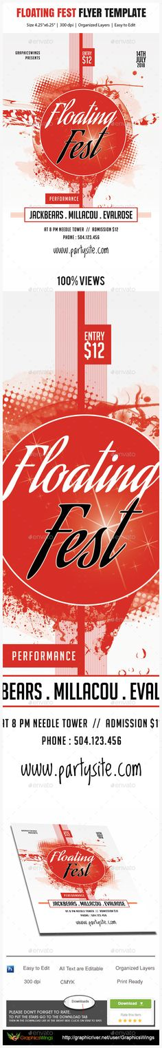 Buy Floating Fest Flyer Template by kreativenet on GraphicRiver. All you need to do is add your event related info. I've made this file very easy for you to edit. This file is sold e. Flyer And Poster Design, Psd Flyer Templates, Information Graphics, Promote Your Business, Messages, Graphic Design, This Or That Questions, Abstract, Flyers
