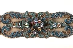 """Britex Fabrics - 1"""" Vintage Teal Scrolled Motif Beaded Lace - Beaded - Lace Trim"""