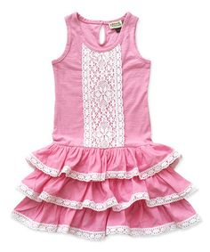 Another great find on #zulily! Pink & White Lace-Accent Ruffle Dress - Toddler & Girls #zulilyfinds