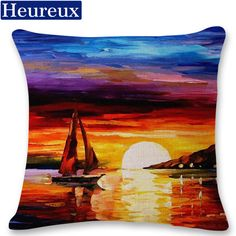 Oil painting cushion cover european style pillow case 45*45 thick pillow cover 3D print decorative pillows cotton kussenhoes