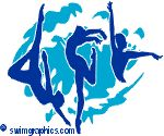 sa040422: Blue trio swimmers with blue splash background clipart.