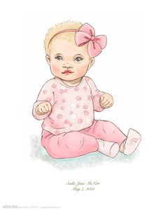 Custom Child Portrait Illustration by KristyZink on Etsy Baby Illustration, Portrait Illustration, Fashion Figure Drawing, Baby Sketch, Chubby Babies, Cage Light, Baby Painting, Baby Clip Art, Baby Drawing