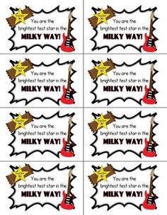 Rock the Test treat labels.  Great for any test!
