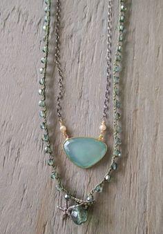 Beachy uncinetto x 3 wrap bracciale collana - sottile salvia - blu verde argento starfish beach gioielli di uncinetto chic boho surfista