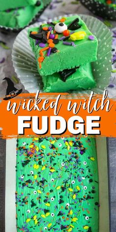 This Wicked Witch Fudge is a a SPOOKY twist on old fashioned fudge. Vanilla fudge tinted green and topped with witch sprinkles make it a FUN TREAT for the holiday! #halloween #fudge #fudgerecipe Fudge Recipes, Candy Recipes, Holiday Recipes, Holiday Foods, Halloween Themed Food, Halloween Treats, Fudge With Evaporated Milk, Old Fashioned Fudge, Oh Fudge