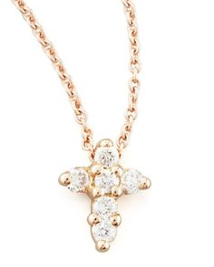 Y1MEP Roberto Coin Rose Gold Diamond Cross Necklace