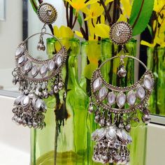 Silver jhumki style earrings Very stylish earrings with post drops in silver . Stones add a hint of glamor to it .                                      🚫No Paypal  🚫No trade  🔹Use offer button to make offer Jewelry Earrings