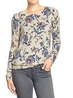 Women's Printed Crew-Neck Sweaters | Old Navy - Florals in Oatmeal and Blue as well as solid colors - $29.94