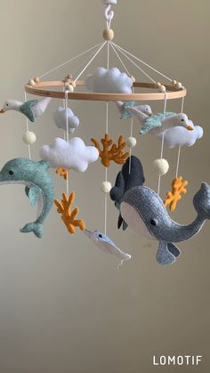 toys for boys homemade gifts Ocean Baby Mobile, Whale baby mobile, nursery decor, baby shower gift, baby boy mobile Baby Room Design, Baby Room Decor, Nursery Room, Nursery Crafts, Sea Nursery, Whale Nursery, Nautical Nursery Decor, Baby Room Diy, Boy Mobile