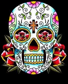"""Day of the Dead Art Coffin """" Flower of the Dead"""" 12 by 24 Giclee Canvas Print Skeleton Sugar skulls Tattoo art. Description from pinterest.com. I searched for this on bing.com/images"""