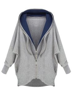 Gray Double Zipped Cape Sleeve Hoodie