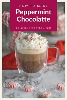 This Peppermint Chocolatte is the perfect coffee to get you in the holiday spirit. It's a festive blend of rich coffee, hot chocolate, and peppermint syrup – all topped off with whipped cream and crushed peppermints. It's easy, fun, and pretty enough for a party. Plus, it's 100% vegan and dairy-free. Vegetarian Christmas Recipes, Easy Holiday Recipes, Healthy Vegan Desserts, Vegan Dessert Recipes, Fun Desserts, Recipes Dinner, Holiday Baking, Christmas Baking, Chocolate Desserts