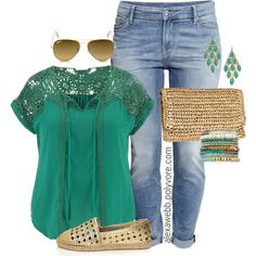 Plus Size - Summer Casual by alexawebb on Polyvore featuring polyvore fashion style maurices H&M Kate Spade Lacey Ryan Blu Bijoux Ray-Ban